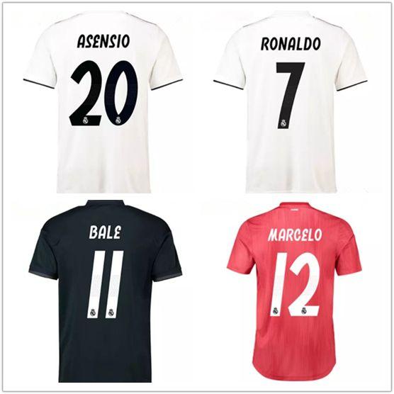 Camiseta De Fútbol 18 19 Real Madrid En Casa De Visitante Fuera De Casa 2018  2019 Ronaldo Asensio RAMOS BALE KROOS ISCO Camisetas De Fútbol Casemiro  Camisa ... 68c99df5757e5