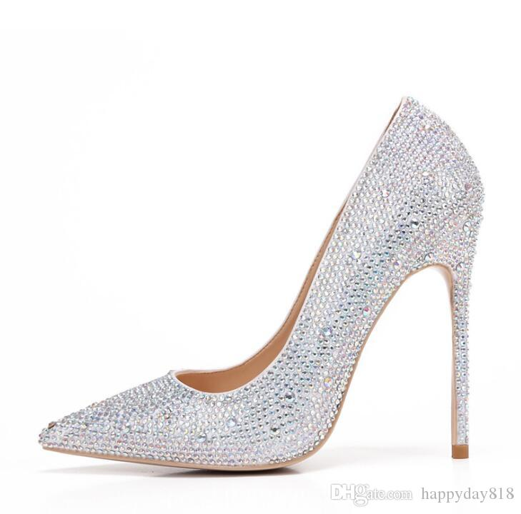 Fashion Women Pumps Silver Strass Rhinestone Point Toe High Heels Shoes  Stiletto Heeled Pumps Real Photo Brand New 120mm 100mm Clogs For Women  Cheap Shoes ... 9e38e86920ed