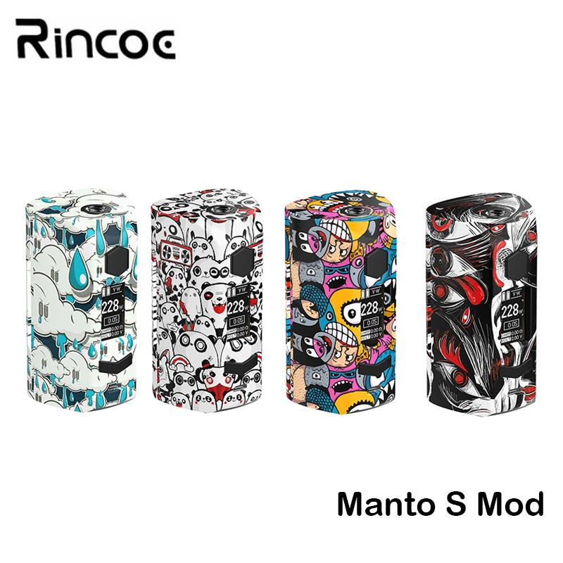 Original Rincoe Manto S Mod 228W Box Vape Manto S Box Kit Support Metis Mix  Atomizer Tank Electronic Cigarette Vapeador