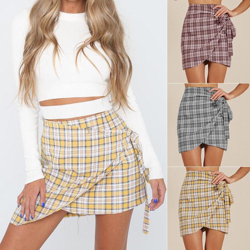 a063e08b18cc 2019 2018 Women Short Mini Skirt Plaid Bandage High Waisted Bodycon Ladies  Wrap Summer Casual Empire Pencil Holiday Beach Skirts From Mangcao, ...
