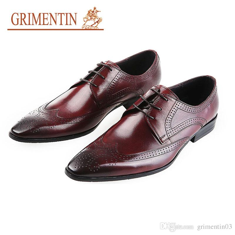 d8e93b726 GRIMENTIN Hot Sale Brand Genuine Leather Mens Shoes Italian Fashion  Designer Oxford Shoes Formal Business Wedding Office Male Dress Shoes  Orthopedic Shoes ...