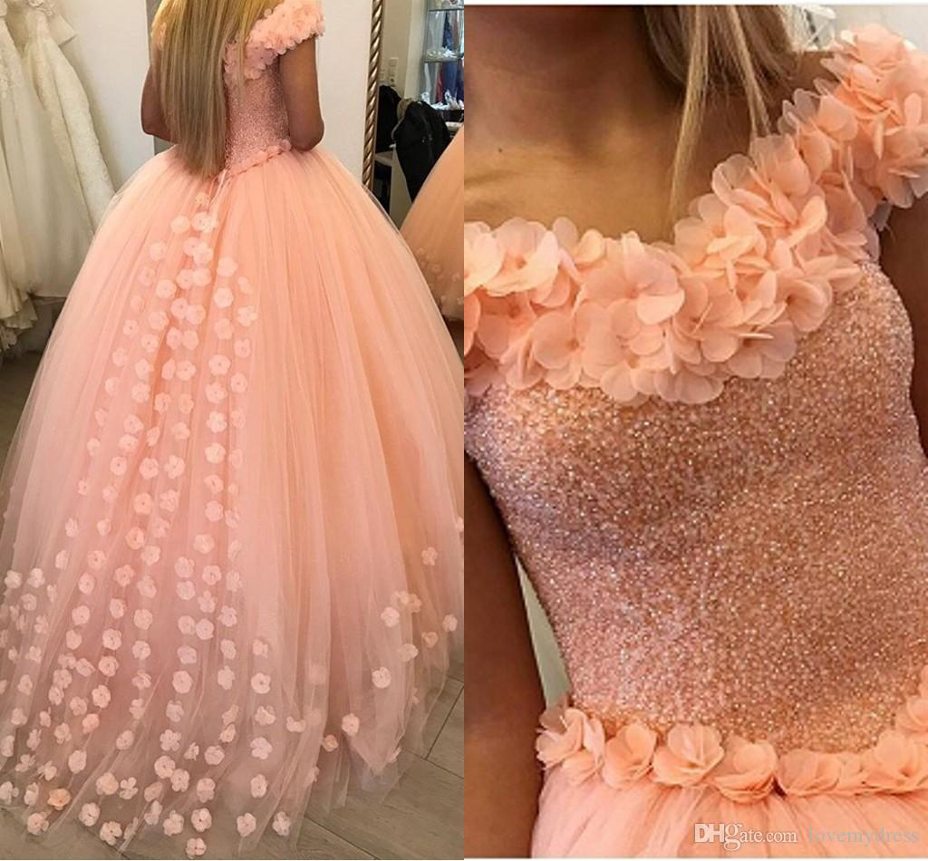 1b9b3a8e35 Hand Made Flowers Off Shoulder Quinceanera Dresses Ball Gowns Beaded  Sequins Open Back Lace Up Prom Dress For Sweet 16 Party Graduation Simple  Dresses ...