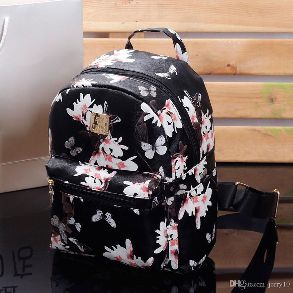 07548b0e15 Women Cute School Bags Backpack Mini 2018 Fashion Back Pack Floral Printing  Black Small PU Leather Backpack For Teenagers Girls Swiss Backpack Laptop  ...