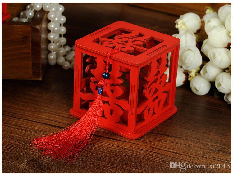 Caja china de la felicidad del doble de la felicidad de la boda cajas del caramelo Caja china clásica roja del azúcar del hueco con la borla