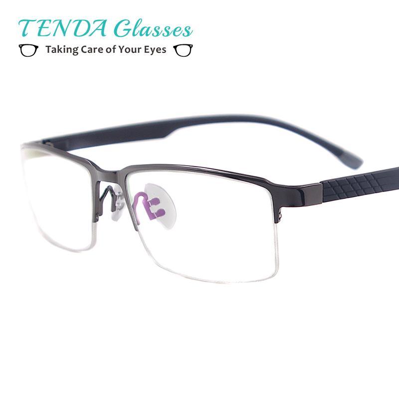 99c34b81c15 2019 Men Classic Metal Prescription Eyeglass Frame Half Rim Rectangular  Glasses For Rx Myopia Reading Multifocal Lenses From Exyingtao