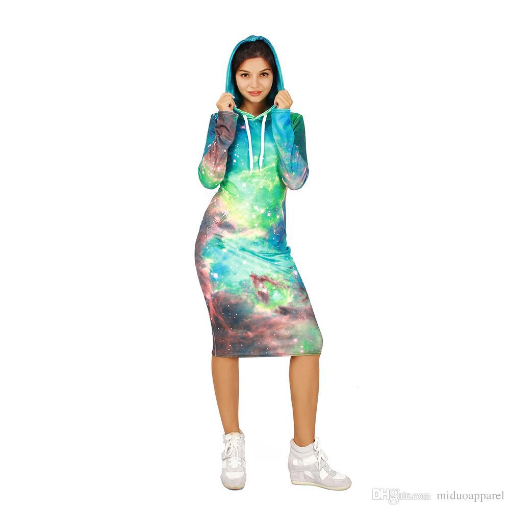 Compre Inicio Hot Fashion Lady Casual Hoodie Dress Mujeres Sudadera Vestido  Galaxia Patrón Con Sombrero Estilo C Tamaño S Xl Envío Gratis A  48.25 Del  ... 6fe9b1185d8