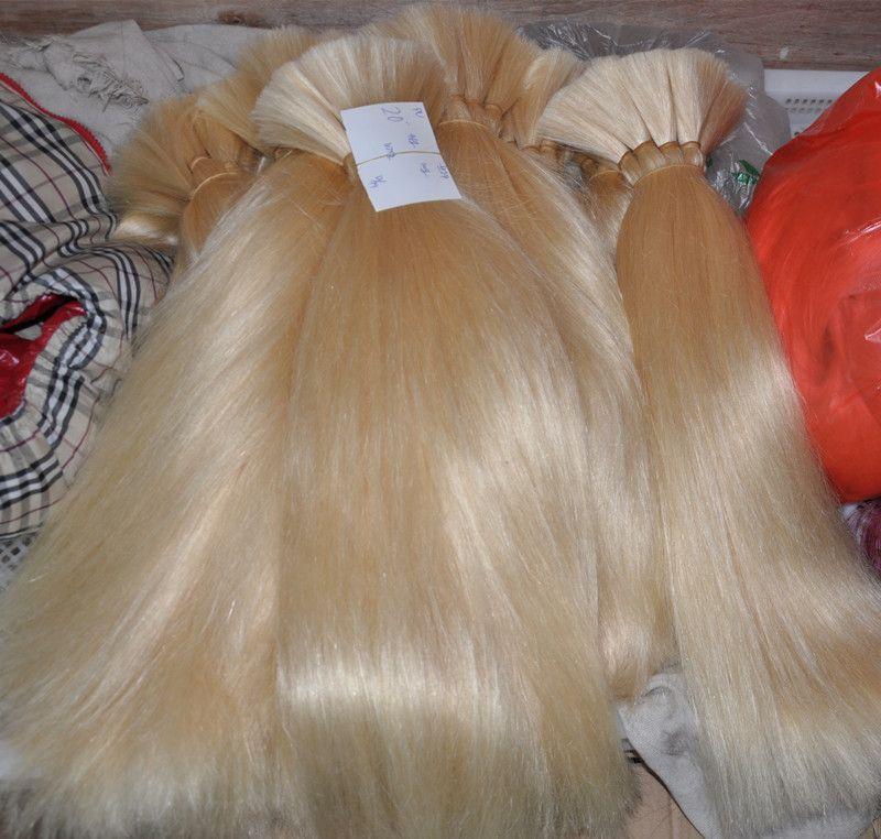 Blonde Color 613 # Extensiones brasileñas del pelo del trenzado a granel sin pelo de la trama 100G / PC Pelo recto natural de la Virgen, DHL LIBRE