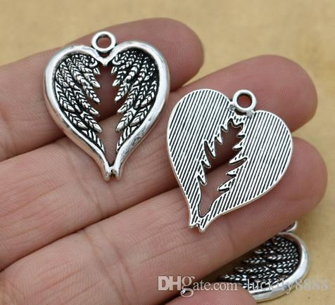 Ancient Silver Plated Angel Wings Heart Alloy Charms Pendants for Jewelry Accessories Making Findings 22x16mm