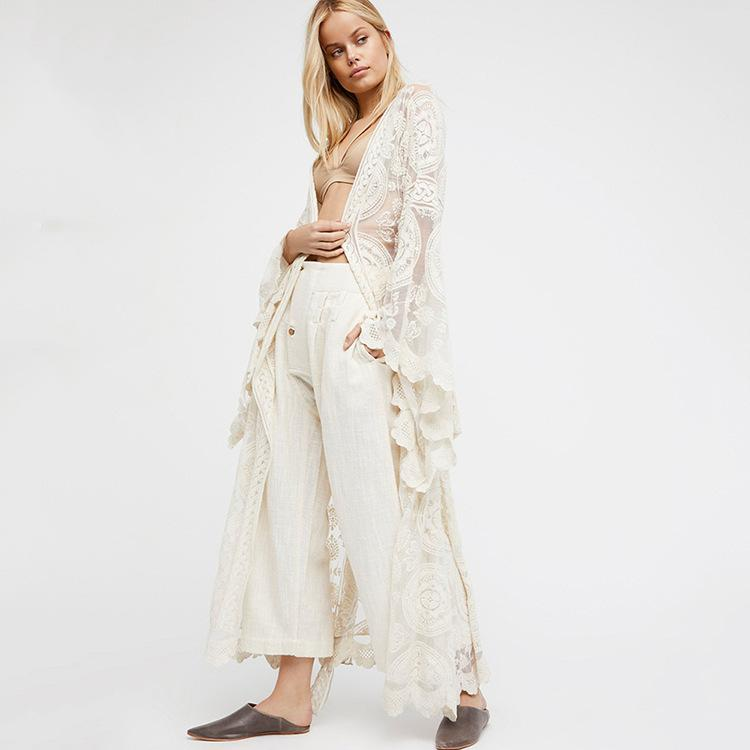 Boho Femmes Solid Lace Long Dress Sexy Transparent Cardigan Beach Party Maxi Robes Élégantes Mujer Automne Printemps Beige Robes