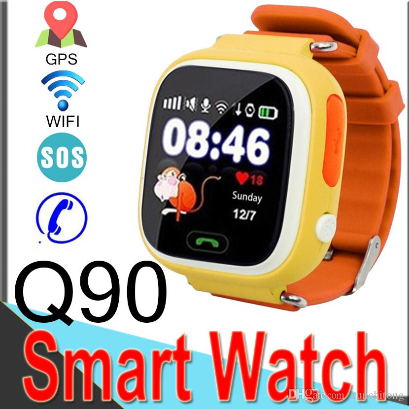 Q90 Bluetooth GPS Tracking Smart Watch Touch Screen with WIFI LBS for iPhone IOS Android SOS Call Anti Lost Smart Phone Wearable R1