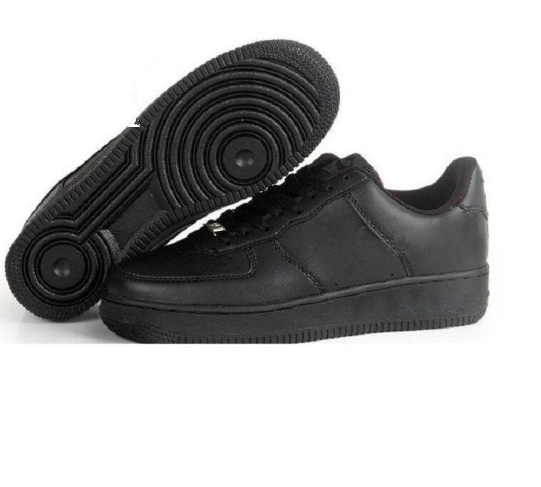 sneakers MenWomen Için CORK Yüksek Kalite Bir 1 Koşu Ayakkabıları Düşük Kesim Tüm Beyaz Siyah Renk Casual Sneakers Boyutu ABD 5.5-12