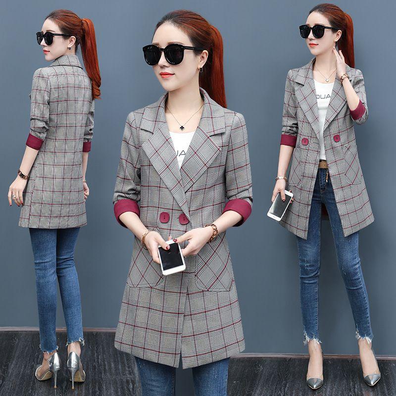 9d50f655095 2019 Women Long Plaid Blazers Jackets Suit Ladies Long Sleeve Work Wear  Blazer Plus Size Casual Female Outerwear Wear Work Coat Y18110701 From  Zhengrui06
