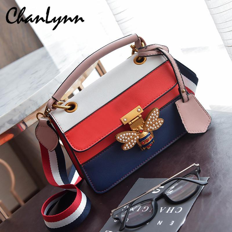 368af81c147 2018 Luxury Crossbody Bag Women Colorful Splicing Little Bee Bags GG Design Handbag  Female Shoulder Bags Messenger Bag Sac Femme Y1891204 Online with ...
