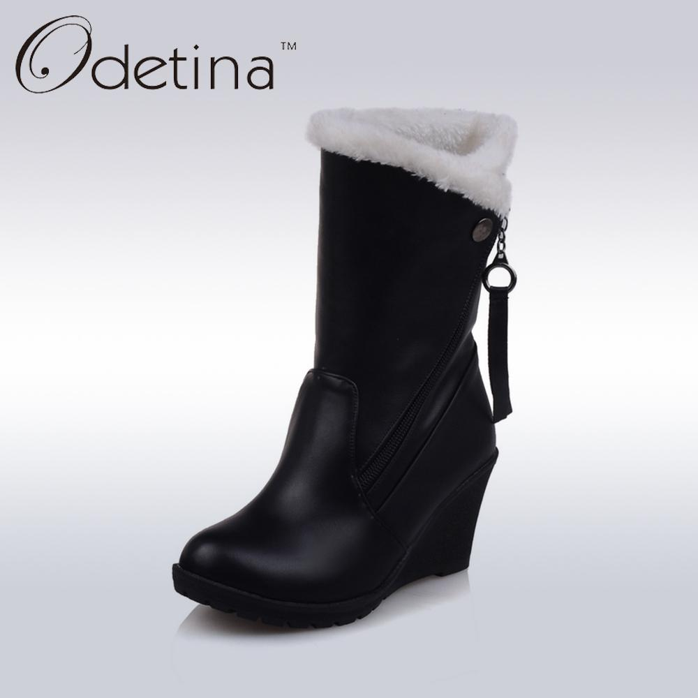 8467bec5462a Odetina Brand Mid Calf High Heel Wedges Boots Black Warm Plush Pu Leather Ladies  Boots Large Size Fashion Women Winter Zip Ladies Boots Cheap Boots From ...