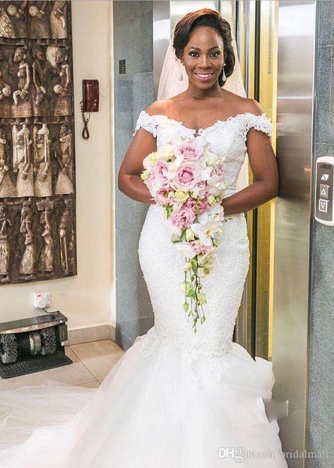 Plus Size Mermaid Afrikaanse Trouwjurken Elegante Off Shoulder Pearls Lace Bridal Jurk Count Trein Tulle Bruidsjurken Vestidos de Novia