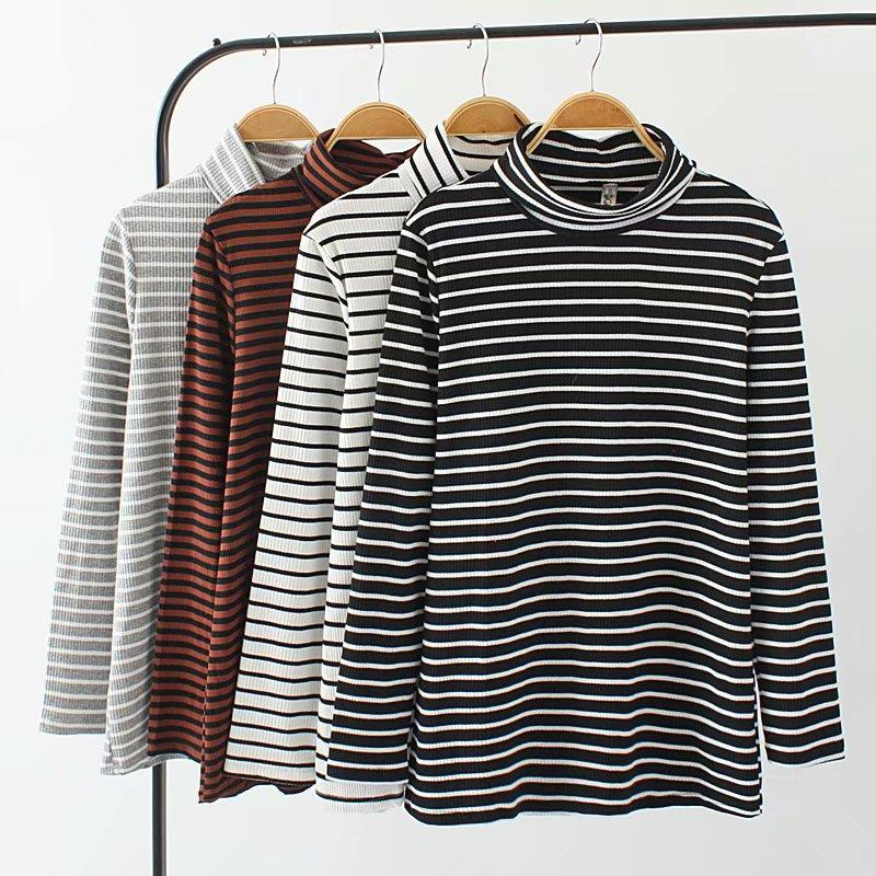 86fddffe5 Plus Size Brown & Gray & Black White Striped Women T Shirts 2018 Autumn  Winter Tshirt Turtleneck Long Sleeve Ladies Tops 4XL On T Shirts It Tee  Shirts From ...