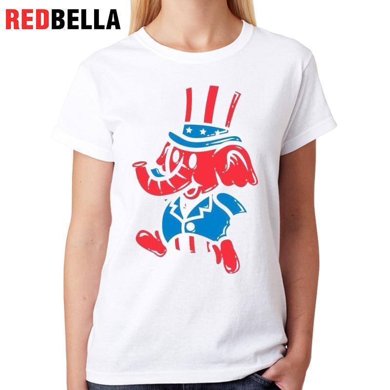 5d1ed3427fbc84 Women S Tee Redbella Vrouwen T Shirt Art Design Retro Paint Elephant Usa  Cartoon Animals Ulzzang Funny Clothes Fashion Ladies Tops Casual Best T  Shirts ...