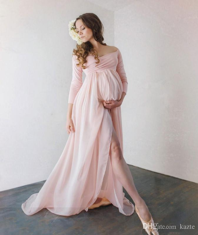 0208246f701 Attractive Chiffon Maternity Prom Formal Dresses With Long Sleeves Split  Front Pregnant Gown Off The Shoulder Custom Made Maxi Dress Halter Neck Prom  ...