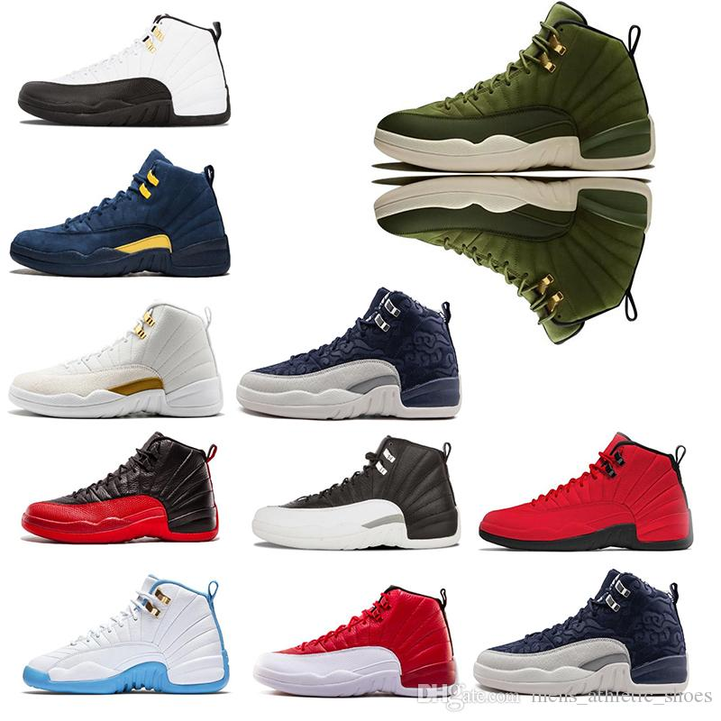 c66fb74e99f1b8 2019 New 12s Men XII Basketball Shoes International Fligh Michigan Designer  Shoes Gym Red OV Black White UNC Mens Sneakers Trainers Size 7 13 From ...