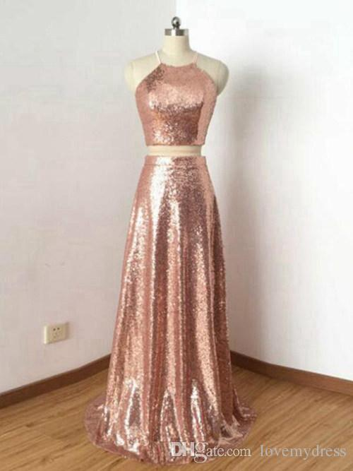Rose Gold Sequined Country Bridesmaid Dresses Halter Cheap Two