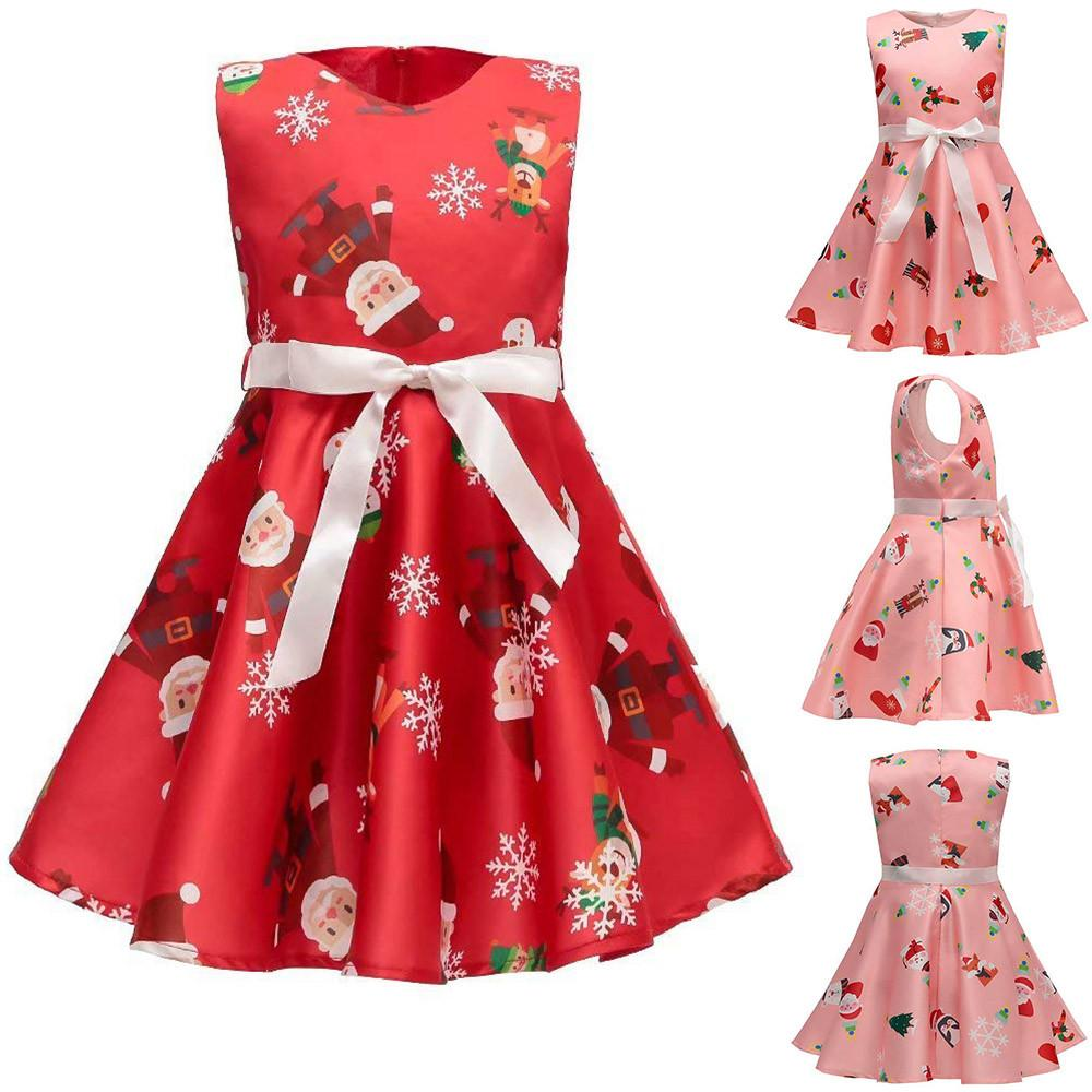 a940e3265da06 Acheter Robes De Soirée Santa Print Princess Dress Christmas Outfits  Toddler Bébés Filles Bande Dessinée Vêtements Drop Shipping De $38.77 Du  Ferdimand ...