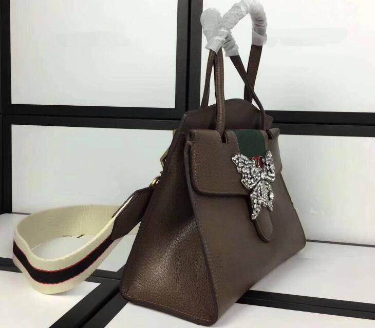 AAAAA Quality 505342 Brown Totem Medium Top Handle Totes Bag,Metal crystals Butterfly,Jacquard stripe nylon strap,Dust Bag,