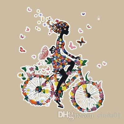 17 * 20 CM Ev Ütüler Kız Ride Bisiklet Baskılı T-shirt Hoodies Için Özelleştirilmiş DIY Yamalar Üst Giysi Termal Transferi Yama Giyim Için