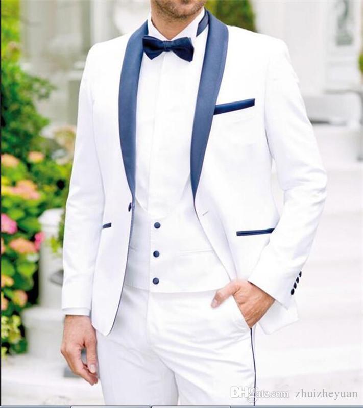 Custom Made White Men Wedding Suits Groom Tuxedos Three Piece Blue Shawl Lapel One Button Custom Made Groomsmen Tuxedos Jacket+Pants+Vest