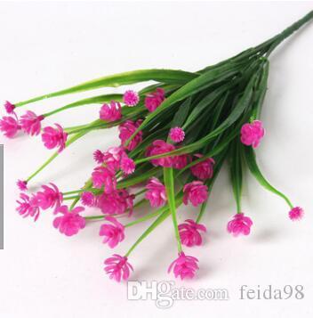 7 شوكة متعددة رئيس الحلوى روز المياه العشب محاكاة البلاستيك زهرة مقهى / غرفة الطعام الزينة زهرة