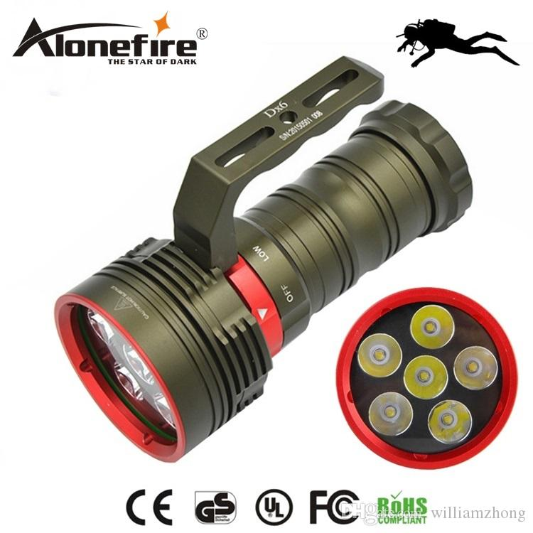 AloneFire DX6 Underwater 200M Diving 9000Lm Flashlight 6 x XM-L2 LED torch lanterna Waterproof Flashlight for 18650 battery