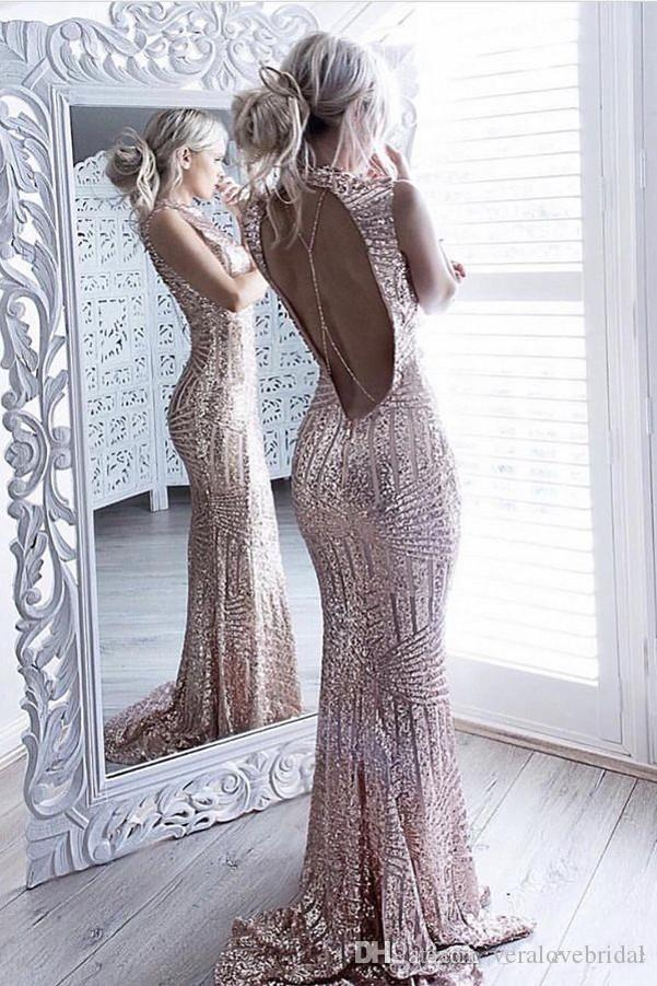 3dccbf18293 Unique Champagne Pink Sequined Prom Dresses Mermaid High Neck Sweep Train  2017 Evening Dress Custom Made Party Gowns Elegant Prom Dress Emo Prom  Dresses ...