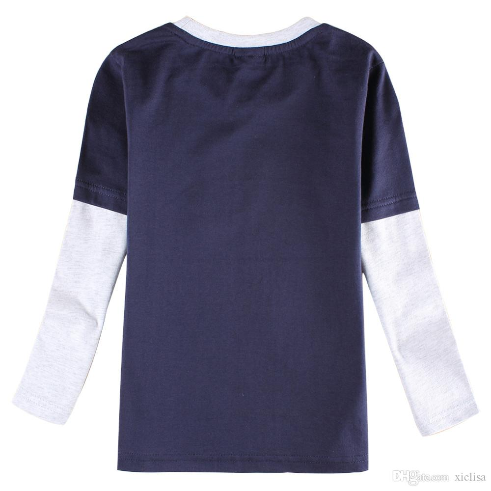 gray 2018 Casual Boys Clothes Nova kids Fashion Cartoon Boy's T Shirt Spring/Autumn Long Sleeve T Shirt For Children Boy tops