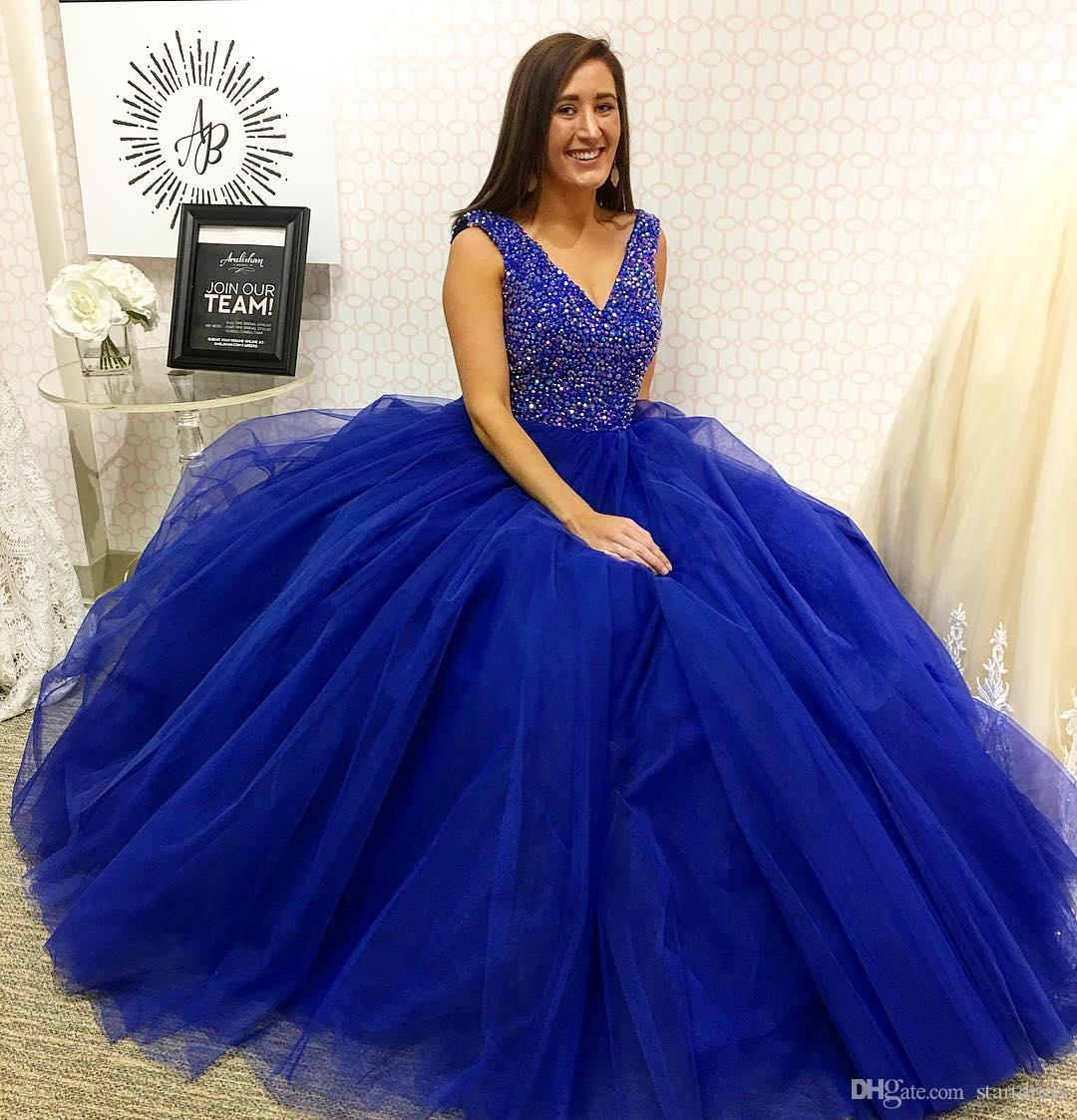 Vintage Ball Gown Prom 2018 Gray royal Blue Top Beaded Tulle Evening Sexy V Neck Floor Length Long Party Plus Size Holiday Special