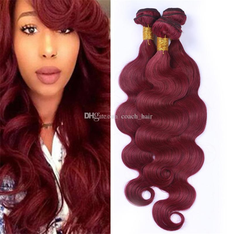 Colored 99j Wine Red Peruvian Hair Bundles 10 30 Burgundy Body Wave