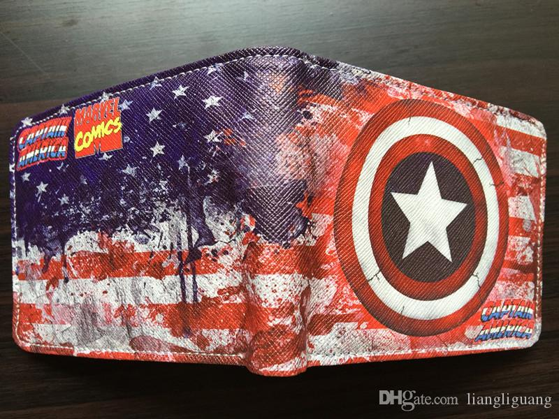 DC Marvel Comics Men PVC Wallet Captain America Anime Cartoon Purse Card Money Bags Male Leather Wallets