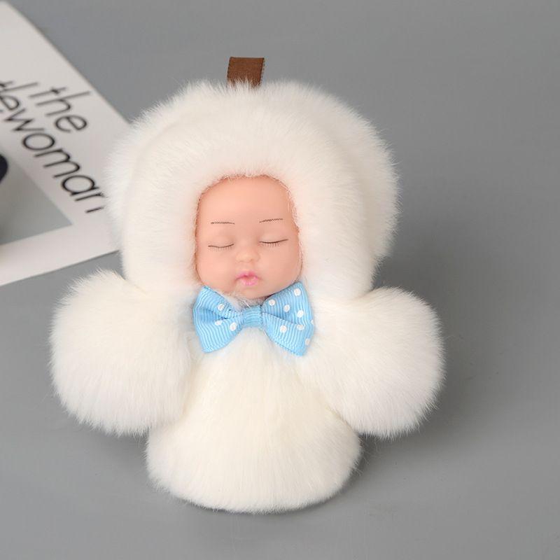 1 PZ! Mini Carino Bambino Addormentato Portachiavi Pompon Rex Coniglio Palla di Pelliccia Catena Chiave Auto Portachiavi Donne Portachiavi Sacchetto Del Pendente Accessori di Fascino