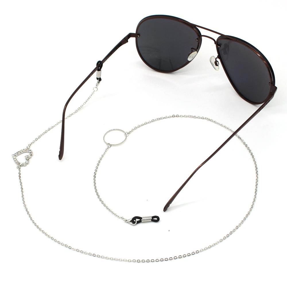 3460b9821ea 2019 GL384 Silver Chain Girls Rhinestone Heart Sunglass Strap From  Fashluck