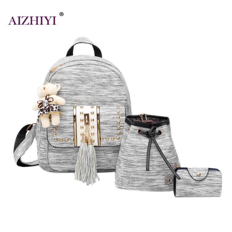 ebae5958473d Tassel Bear Backpack For Teenager Girls Women Backpack Female Student  School Bag Rucksack Women PU Leather Backpack2018 Small Backpack Backpack  Brands From ...