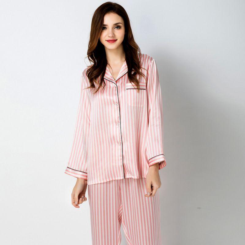 2019 100% Mulberry Silk Sleepwear Ladies Pyjamas Silk Women S Sleepwear  Long Pajamas PJS Nightwear Set From Sandexica 917c4971b