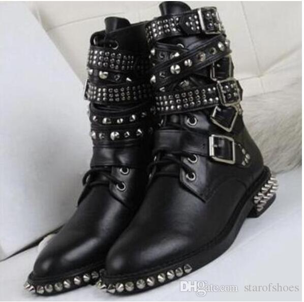 2018 women fashion booties spike stud boots black booties tactical boots thick heel point toe motorcycles booties buckle
