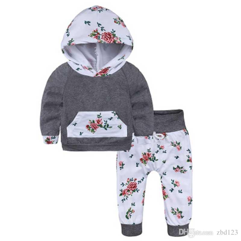 3ef081e57 Newborn Girls Clothing Set Grey Hooded Top + Floral Pants Children s ...