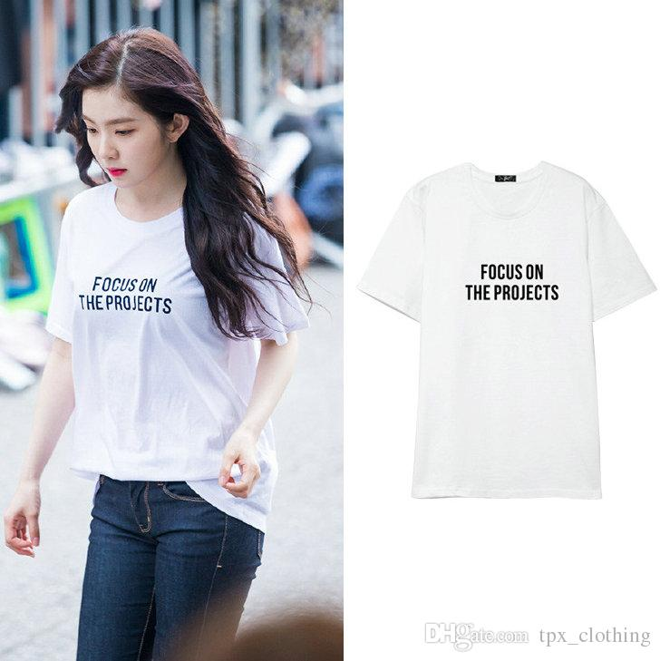 Focus t shirt Cool words on the projects short sleeve gown Street leisure  tees Unisex clothing Pure color cotton Tshirt
