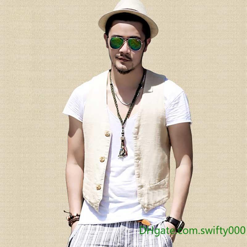 080b1a8a143 2019 Spring Summer Linen Suit Vest Men Casual Slimming Vest Office Formal  Dress Wedding Waistcoat Male Clothing White Blue Black Plus Size From  Swifty000, ...