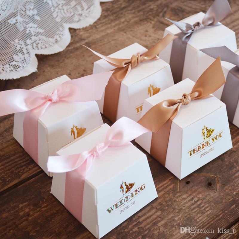 Trapezoid Wedding Favors Candy Boxes Bomboniera Party Gift Box