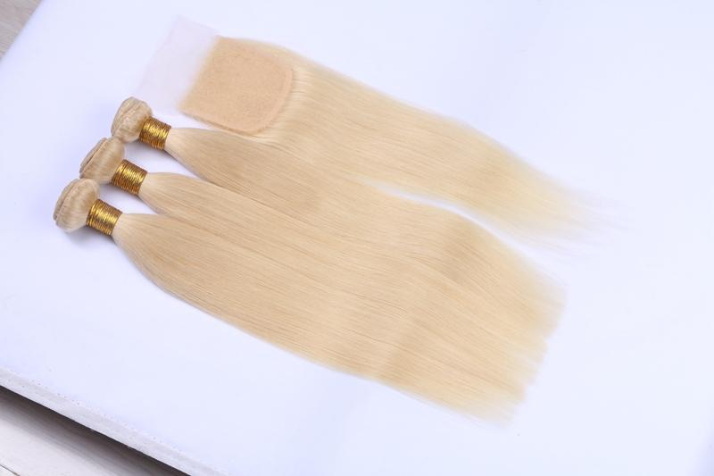Los paquetes rectos rubios de calidad superior con el cierre brasileño de la virgen europea del pelo humano del paquete de la extensión del pelo rubio liberan el envío