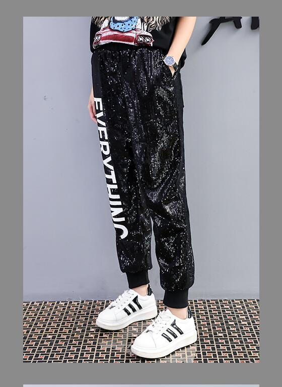 Europe station 2018 early spring new fashion letter print sequins strapped leggings students leisure sports guard pants