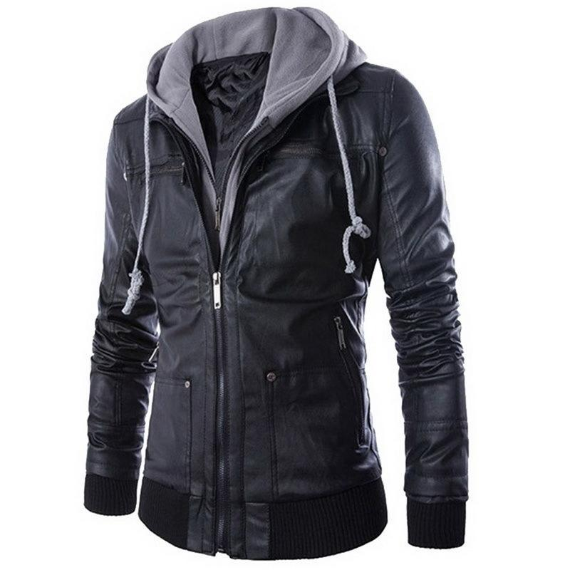 094b0b6735e WENYUJH Leather Jacket Men Winter Turn Down Collar Hooded Jaqueta De Couro  Masculina PU Mens Faux Fur Coats Homme Motorcycle C18111501 Fitted Winter  Jackets ...