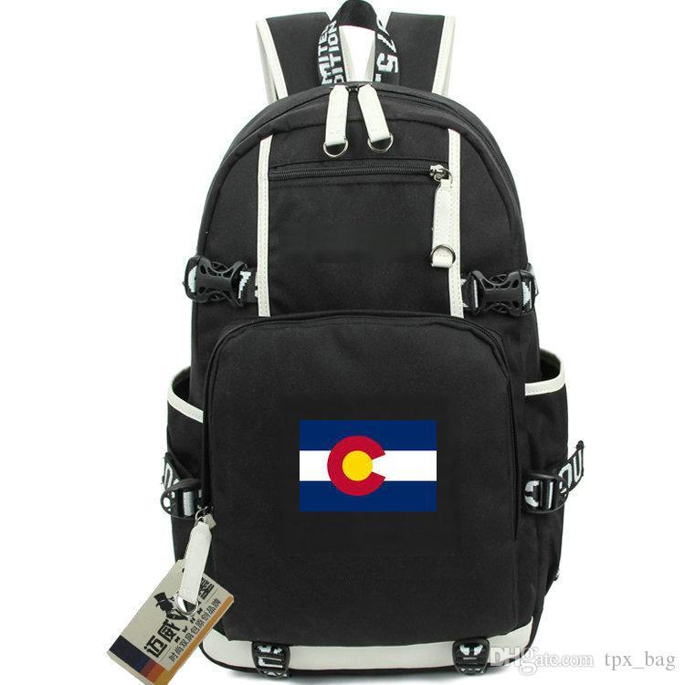 d2d468990ec7 Colorado backpack Picea state flag daypack America CO schoolbag USA laptop  rucksack Sport school bag Outdoor day pack