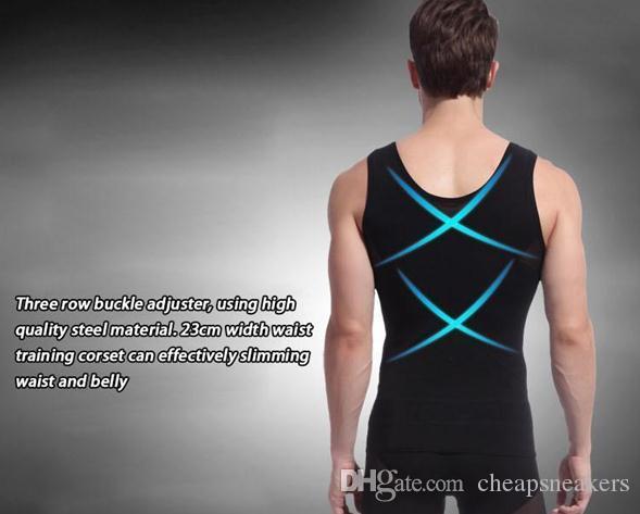 Men's Skinny Underwear Gilet a forma di corpo e abiti da dimagrimento Seni a cintura e body shapers a forma di pancia Brucia grassi abbottonati