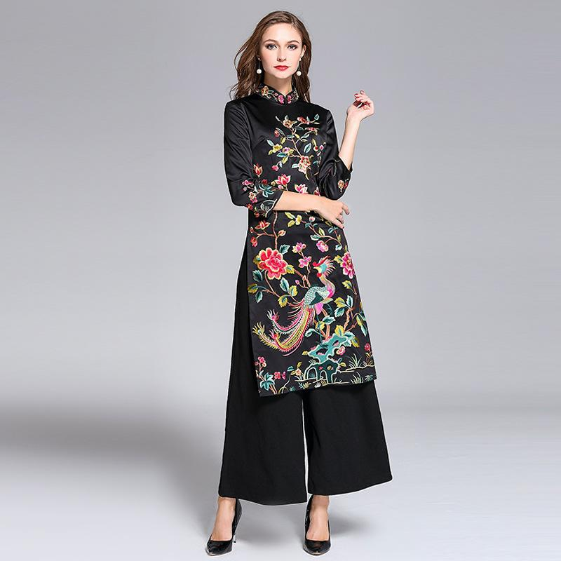 59d441dc551 summer black woman aodai vietnam traditional clothing ao dai vietnam robes  and pants costumes improved cheongsam